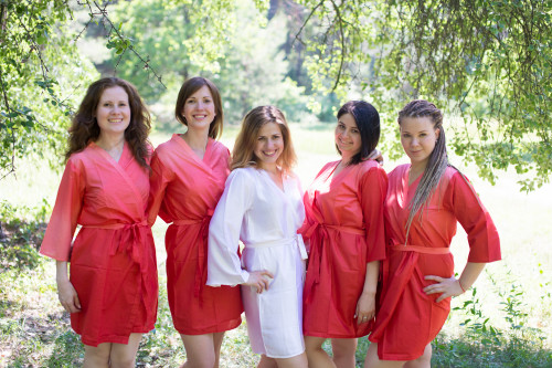 Coral Ombre Tie Dye Robes for bridesmaids