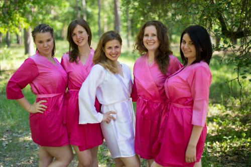 Pink Ombre Tie Dye Robes for bridesmaids