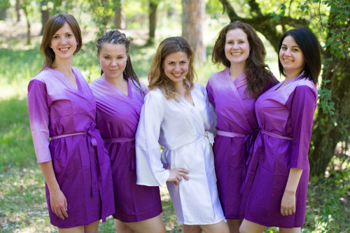 Purple Ombre Tie Dye Robes for bridesmaids