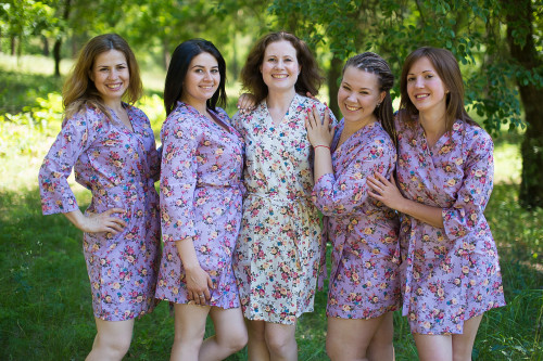 Lilac Vintage Chic Small Floral Robes for bridesmaids