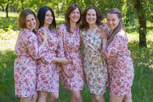 Pink Vintage Chic Small Floral Robes for bridesmaids