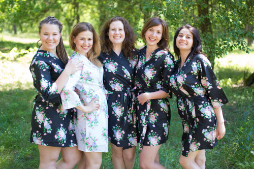 Black Pink Peonies Robes for bridesmaids