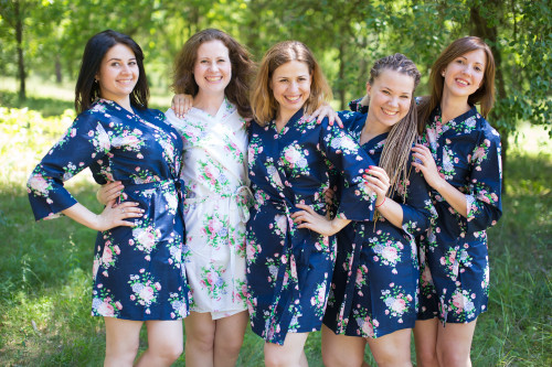 Navy Blue Pink Peonies Robes for bridesmaids