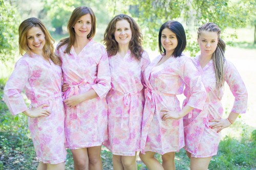 White Pink Ombre Watercolor Leafy Robes for bridesmaids
