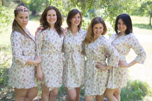 White Tiny Blossom Robes for bridesmaids