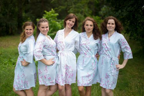 Light Blue Cherry Blossom Robes for bridesmaids