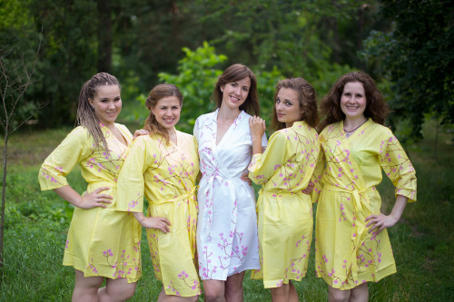 Butter Yellow Cherry Blossom Robes for bridesmaids