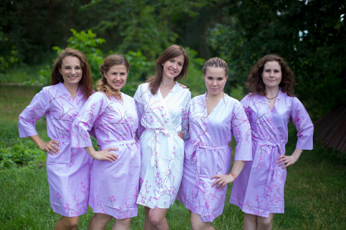 Lilac Cherry Blossom Robes for bridesmaids