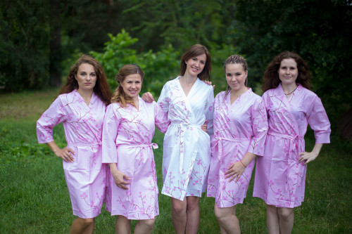 Pink Cherry Blossom Robes for bridesmaids