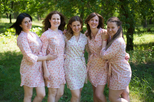 Pink Small Starry Floral Robes for bridesmaids