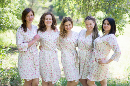 White Small Starry Floral Robes for bridesmaids