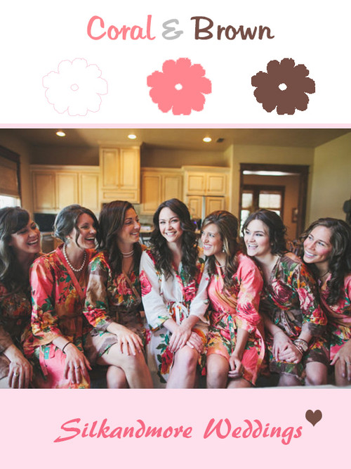 Brown and Coral Bridesmaids Robes