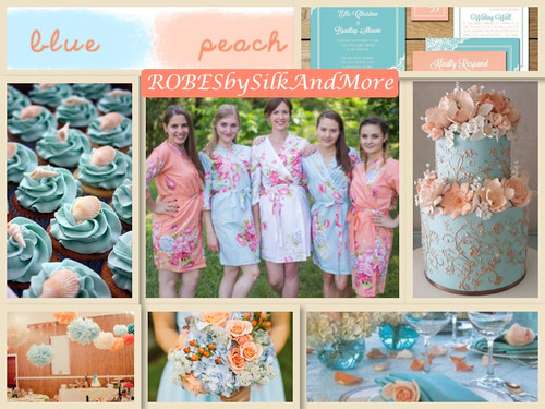 Peach and Light Blue Wedding Robes