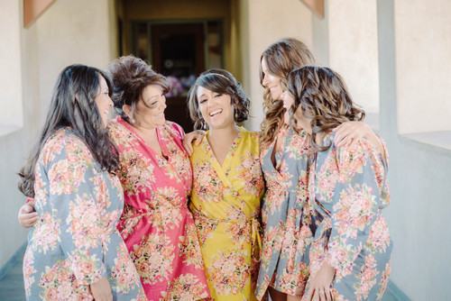 Mismatched Jewel Toned Floral Posy Bridesmaids Robes