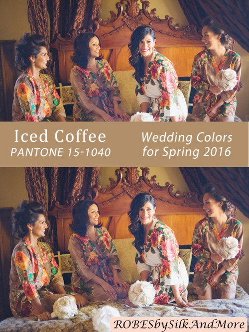 Iced Coffee Bridesmaids Robes | Pantone Spring 2016 Colors
