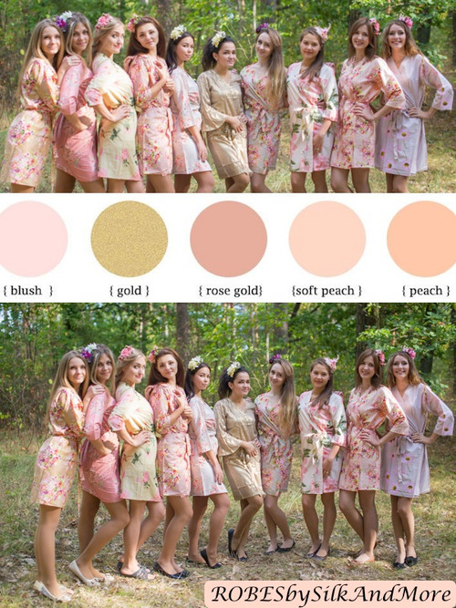 Blush and Gold Wedding Color Robes