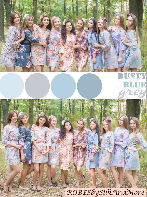 Dusty Blue and Gray Wedding Color Robes