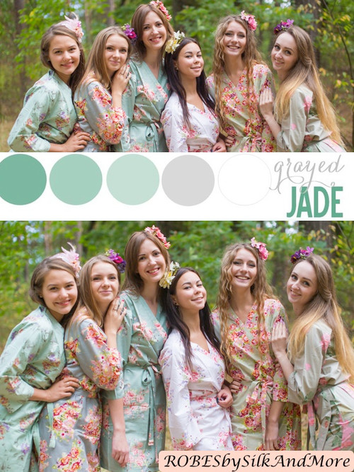 Grayed Jade and Mint Wedding Color Robes