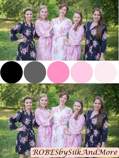 Black and Pink Wedding Color Robes