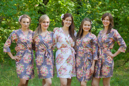 Charcoal Gray Floral Posy Robes for bridesmaids | Getting Ready Bridal Robes