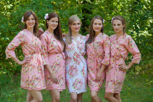 Rose Pink Floral Posy Robes for bridesmaids | Getting Ready Bridal Robes