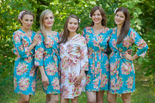 Turquoise Floral Posy Robes for bridesmaids | Getting Ready Bridal Robes