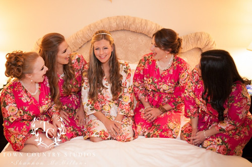 Magenta Rosy Red Posy Robes for bridesmaids