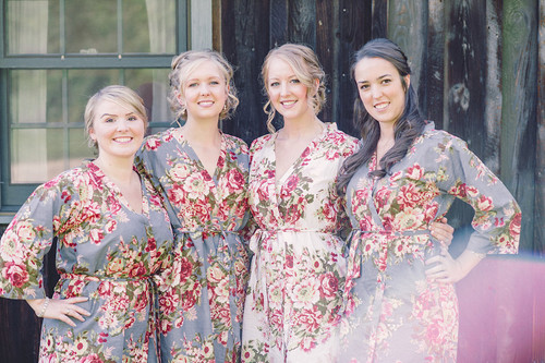 Gray Rosy Red Posy Robes for bridesmaids