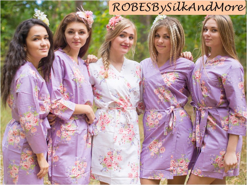 Dusty Purple Faded Floral Robes for bridesmaids