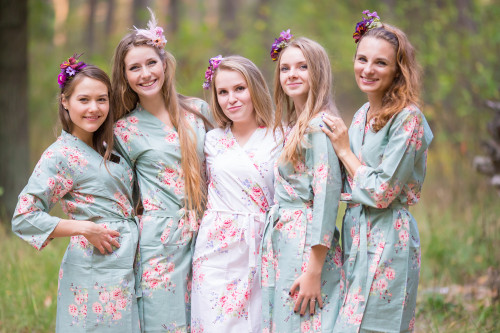 Grayed Jade Faded Floral Robes for bridesmaids