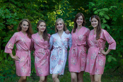 Rose Gold Faded Floral Robes for bridesmaids