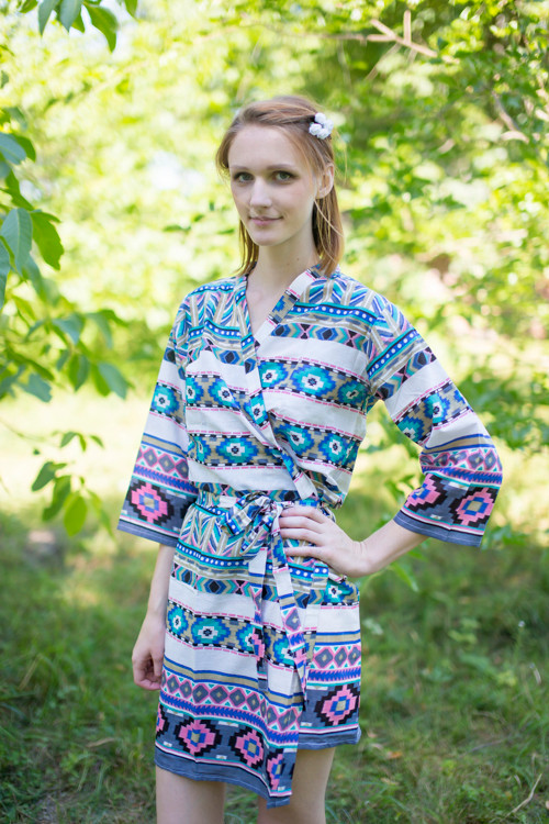 White Gray Aztec Geometric Robes for bridesmaids | Getting Ready Bridal Robes