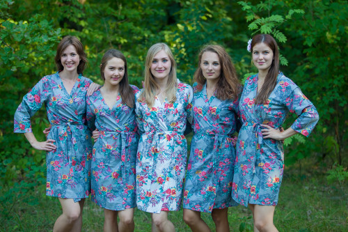 Gray Cute Bows pattered Robes for bridesmaids | Getting Ready Bridal Robes