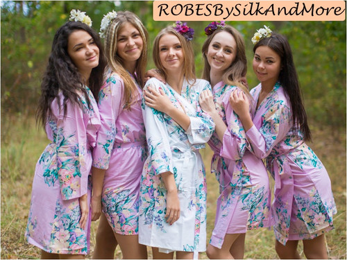Lilac Blooming Flowers pattered Robes for bridesmaids | Getting Ready Bridal Robes