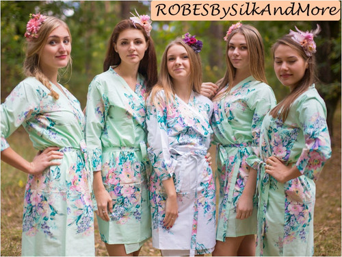 Mint Blooming Flowers pattered Robes for bridesmaids | Getting Ready Bridal Robes