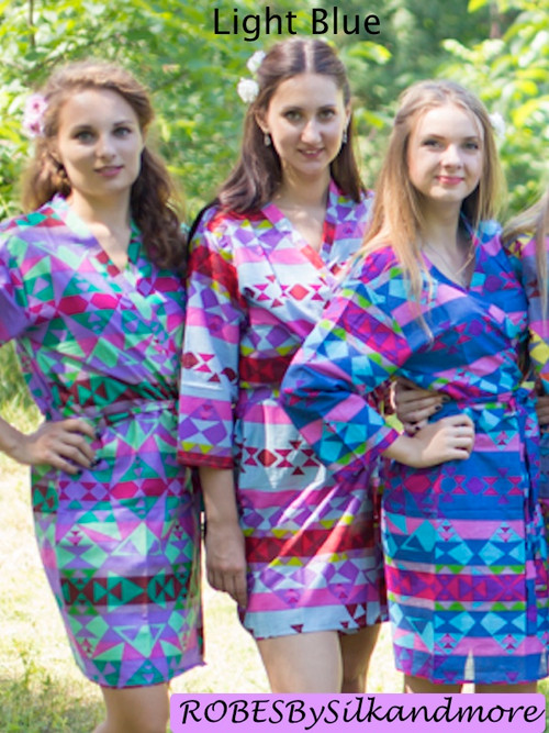 Light Blue Diamond Aztec Robes for bridesmaids | Getting Ready Bridal Robes