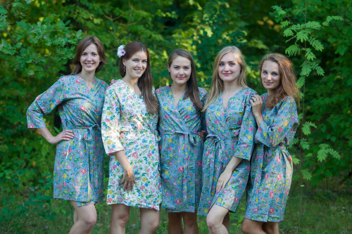 Gray Happy Flowers pattered Robes for bridesmaids | Getting Ready Bridal Robes
