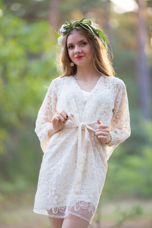 Oh Audrey Ivory Floral Lace Bridal Robe