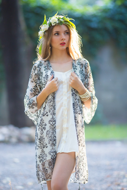 Oh Gloria White Damask Lace Bridal Robe