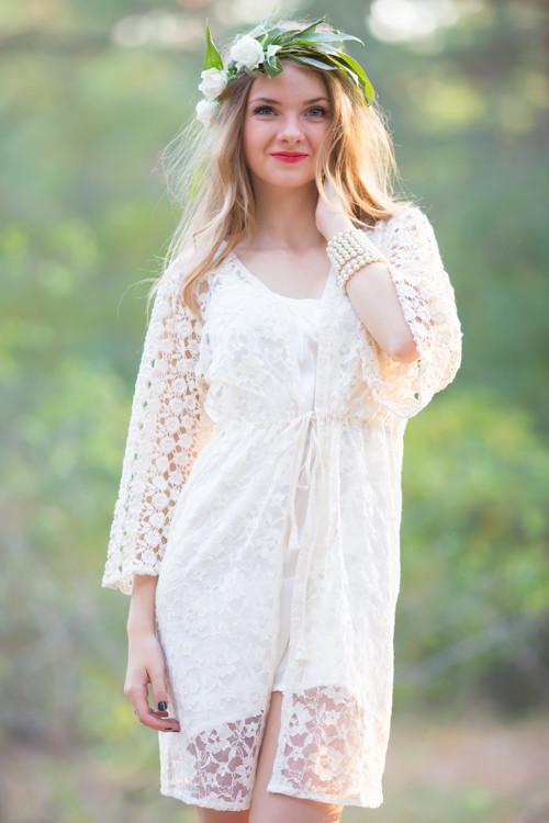 Oh Kiana Ivory Floral Lace Bridal Robe