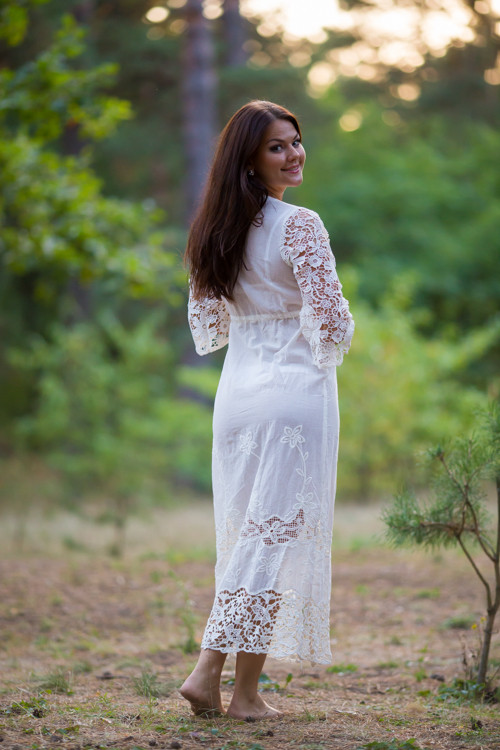 Oh Callie White Lace Bridal Boudoir Robe