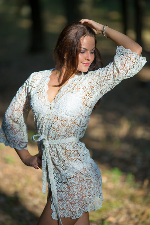 Oh Clara Ivory Butterfly Lace Bridal Boudoir Robe