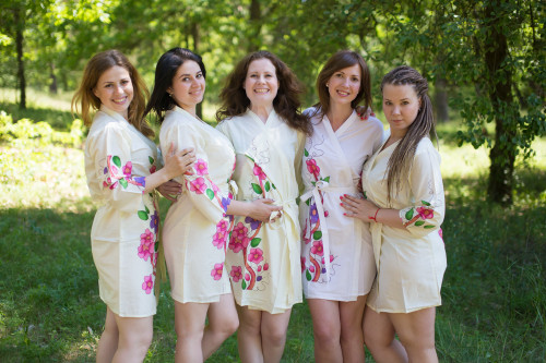Light Yellow Swirly Floral Vine Robes for bridesmaids