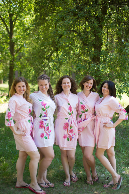 Pink Swirly Floral Vine Robes for bridesmaids