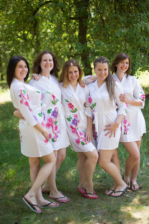 White Swirly Floral Vine Robes for bridesmaids