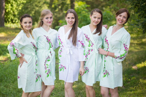 Mint Climbing Vines Robes for bridesmaids