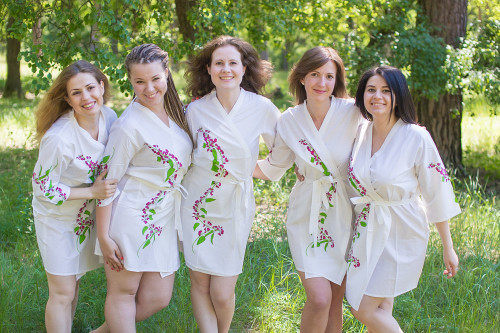 White Climbing Vines Robes for bridesmaids