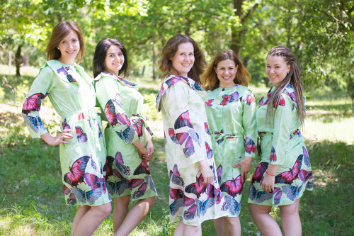 Butterfly Baby Housecoats for bridesmaids to get ready in