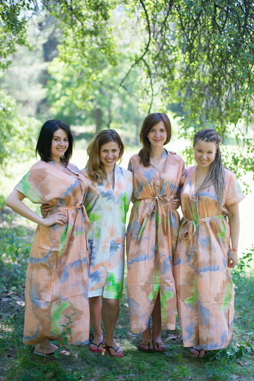 Batik Watercolor Housecoats for bridesmaids to get ready in
