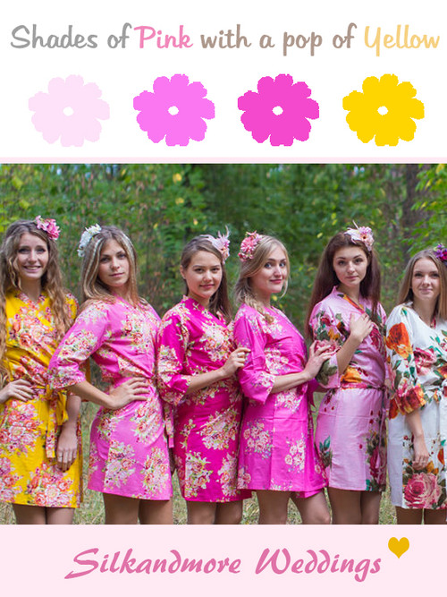 Pink, Fuchsia and Yellow Wedding Color Robes